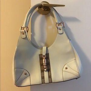 Gucci Leather Hobo Bag with logo print strip